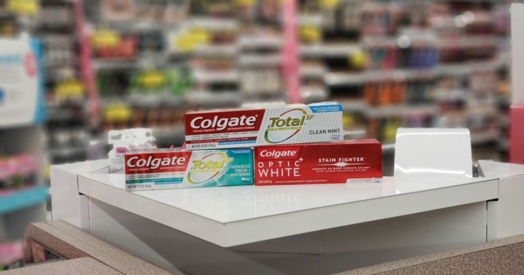 colgate total clean mint and optic white on display in store