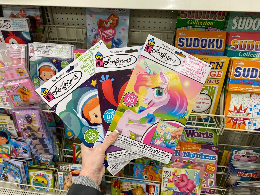 Colorforms Sticker Stories held up in store aisle