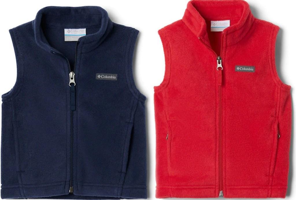 Baby fleece vests in two colors