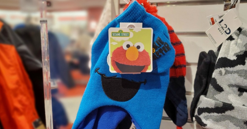 Cookie Monster Hat and Gloves set on rack at Macy's