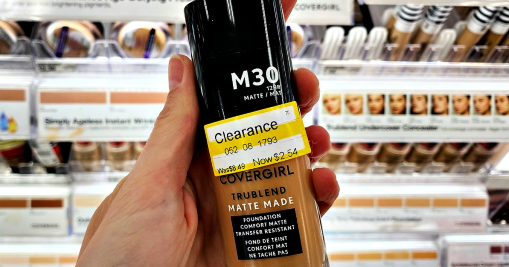 Covergirl Trublend Matte Made Foundation at Target with clearance label in hand