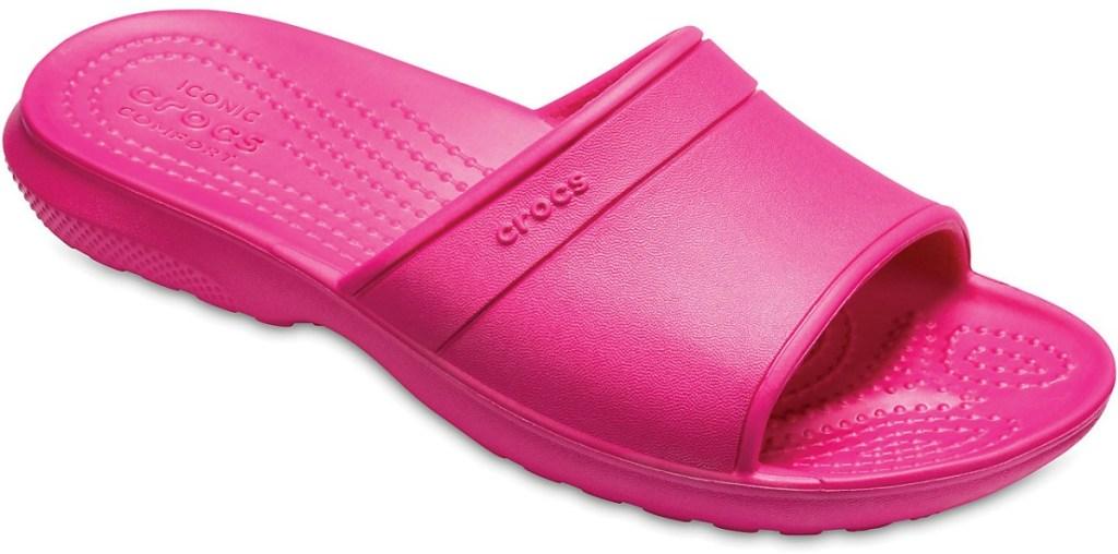 Pink kids Crocs slide sandal
