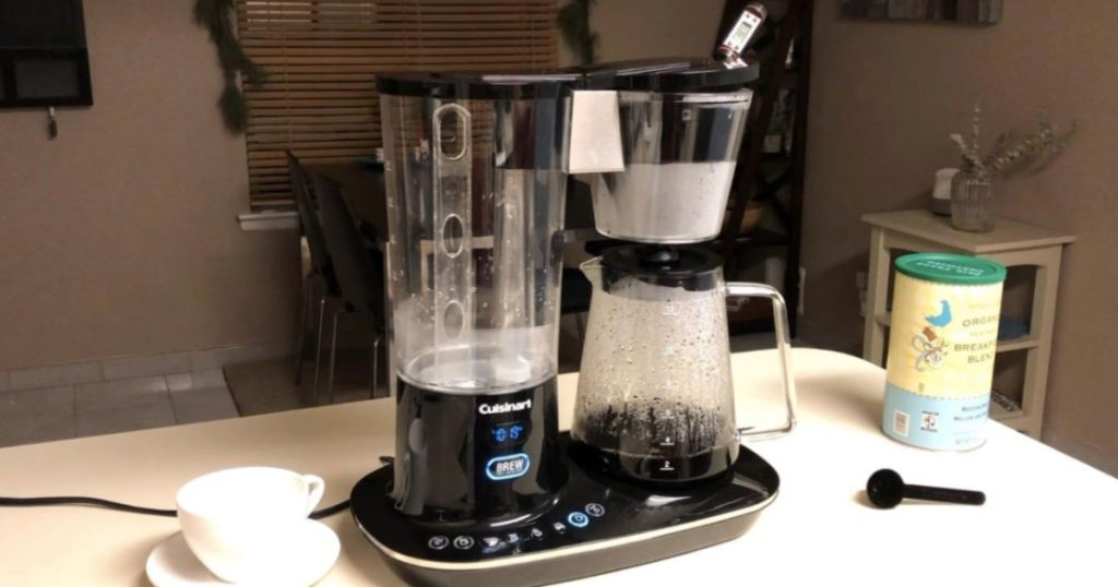 Cuisinart 12-Cup Coffee Maker on counter top brewing coffee