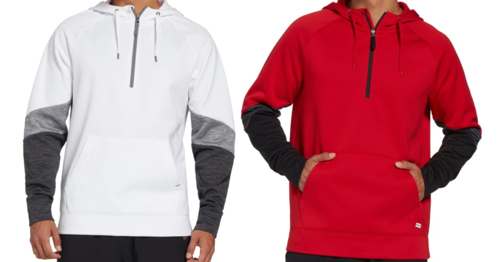 DSG Men's Everyday Performance Fleece Zip Hoodie red and white on models