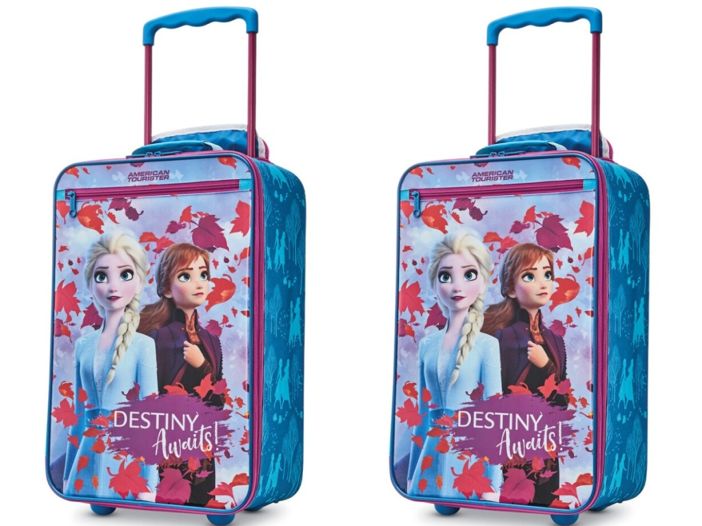 "frozen luggage with anna and elsa on the front with ""Destiny Awaits"""