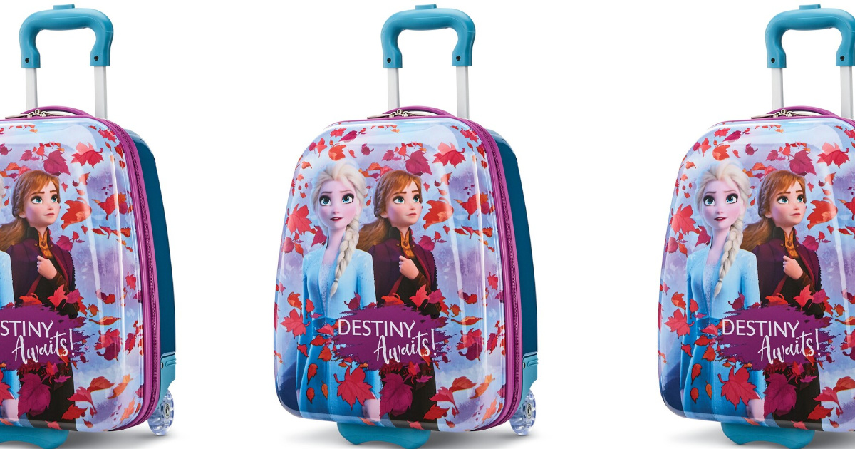 three stock images showing disney frozen characters on suitcases