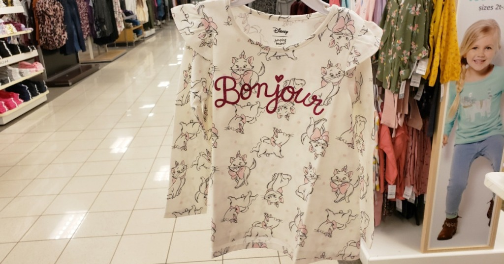 Disney Aristocrats themed young girls long sleeve tee on hanger in store