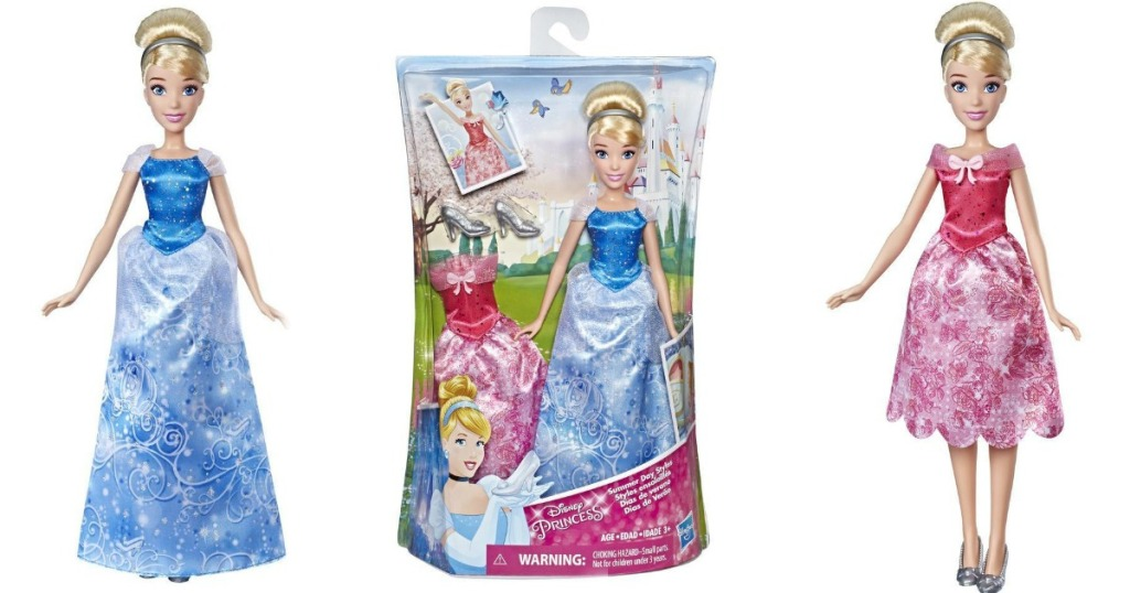 Cinderella doll in package and out with two different dress styles