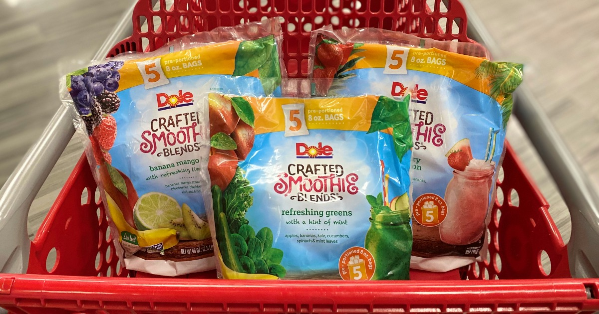 dole smoothie mixes in a Target cart