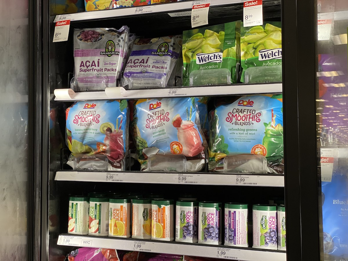 Dole smoothie mixes in a Target freezer case