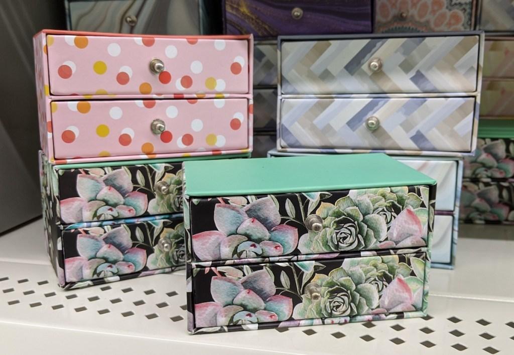 Dollar Tree Trinket Boxes on shelf