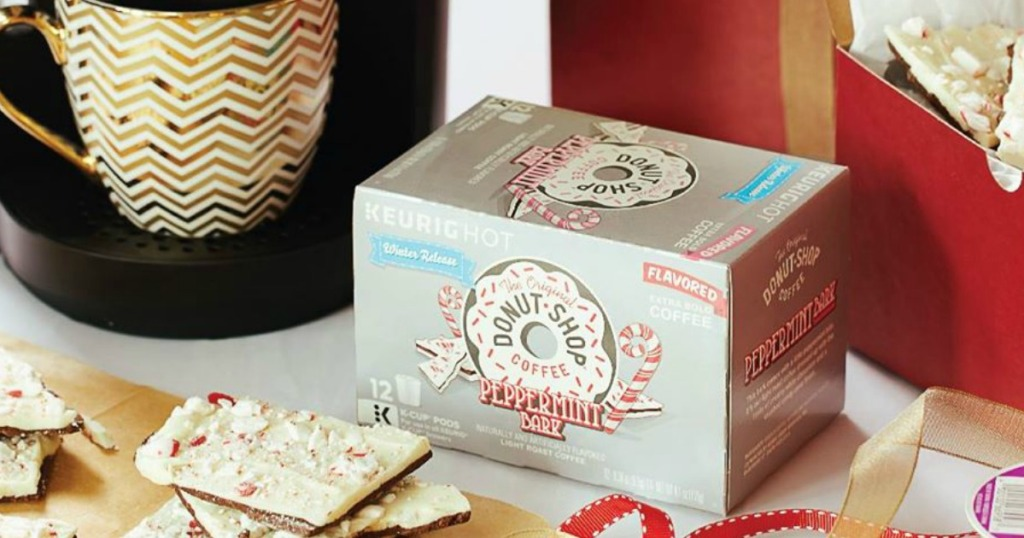 Donut Shop Peppermint Bark K-Cups box next to peppermint bark and Keurig coffeemaker