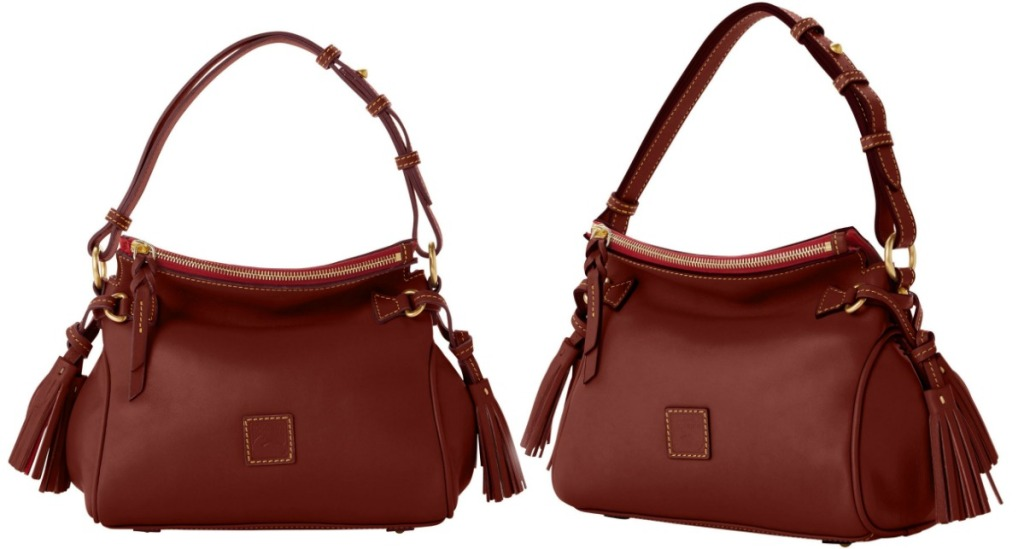 Two angles of the Dooney & Bourke Florentine Tassel Shoulder Bag in brown leather