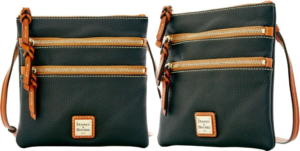 Two angles of Dooney & Bourke crossbody bags