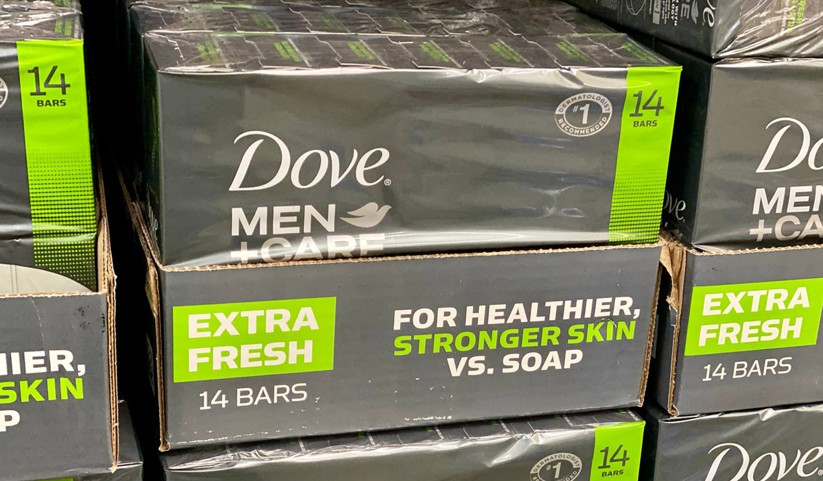Dove Mens+Care Soap bars on display