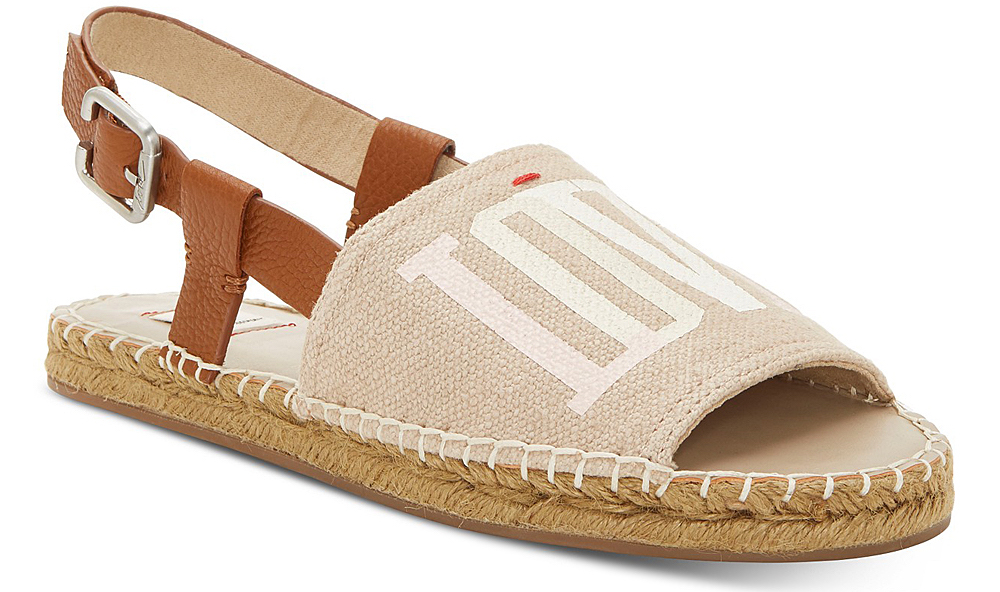 beige espadrille sandal with love written on top in white