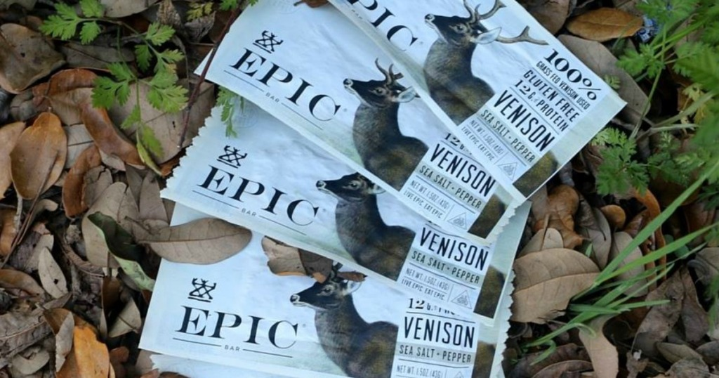 EPIC Venison bars fanned out on leaves