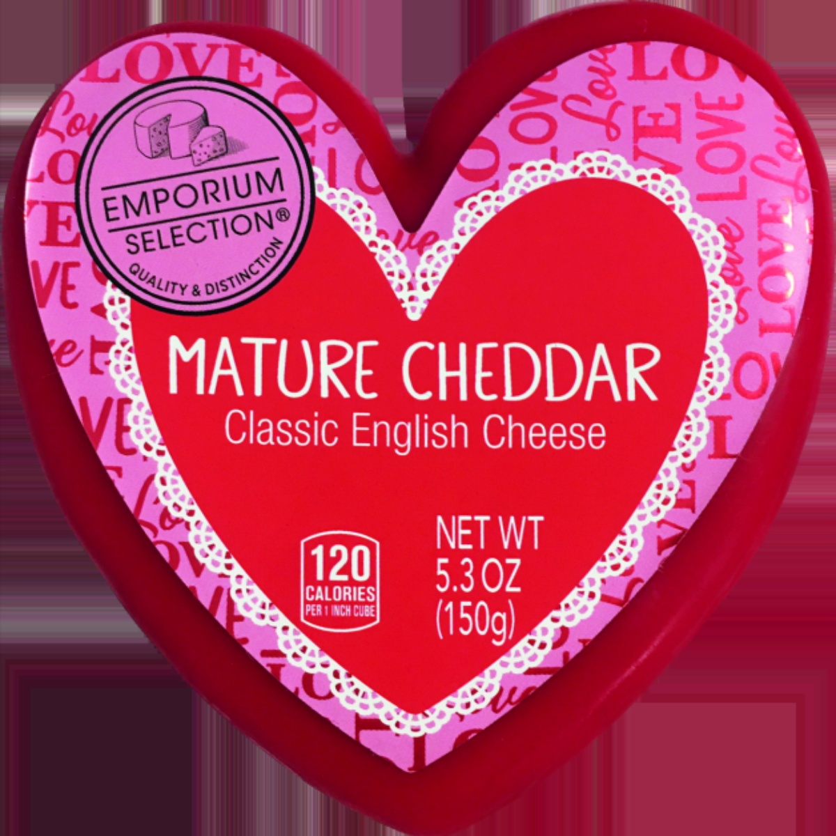 Emporium Selection heart-shaped cheddar cheese