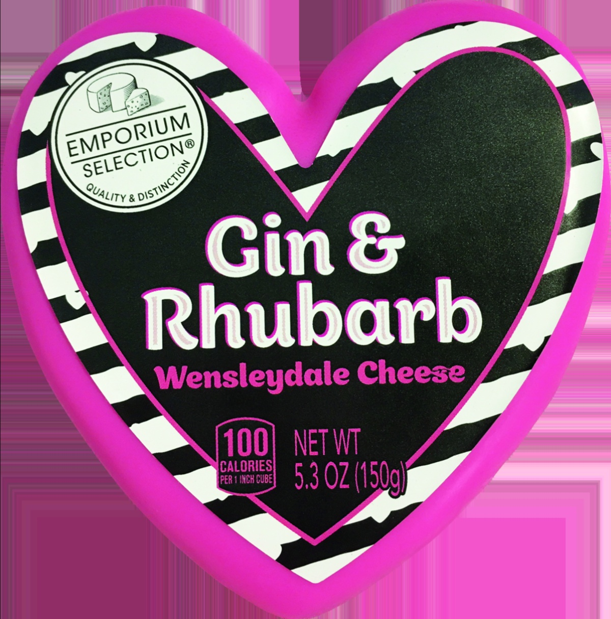 heart-shaped cheese with gin and rhubarb