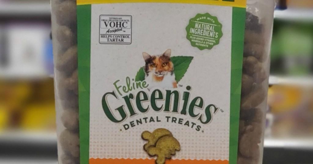 Feline Greenies Dental Treats container