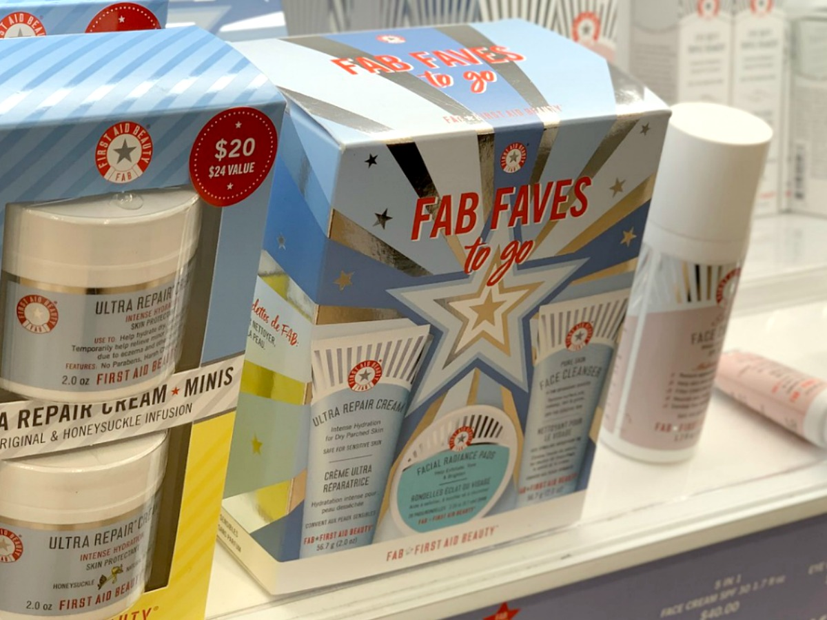 First Aid Beauty brand kit with three products