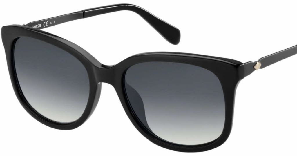 black Fossil Soft Square Sunglasses with Gradient Lens