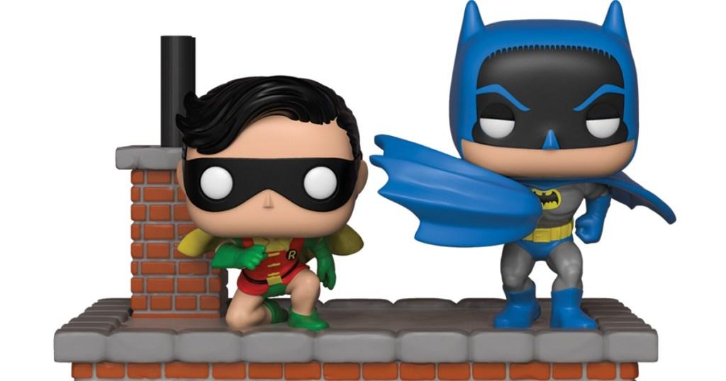 Funko Batman and Robin standing on roof display