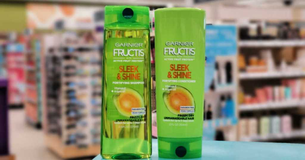 Garnier Fructis Shampoo and Conditioner on counter in walgreens
