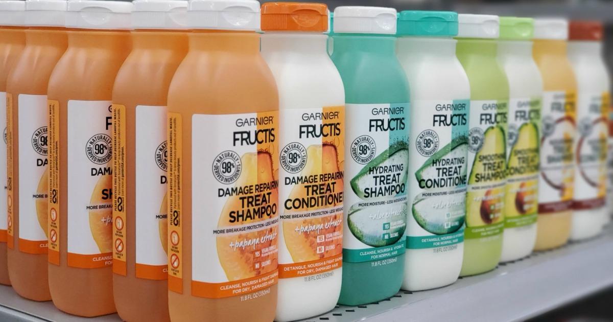 Garnier Fructis Treat hair care products on shelf