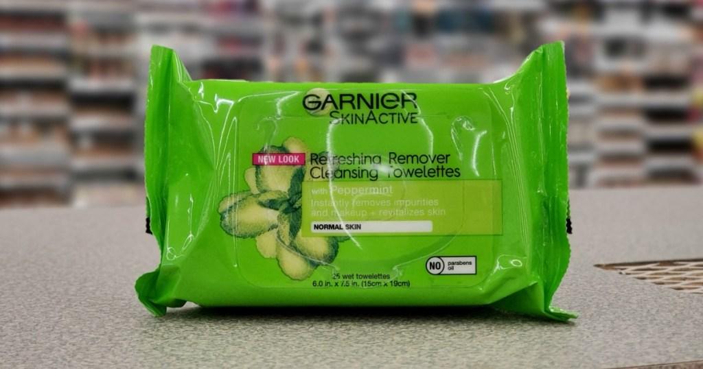 Garnier Skinactive Towelettes on counter at Walgreens