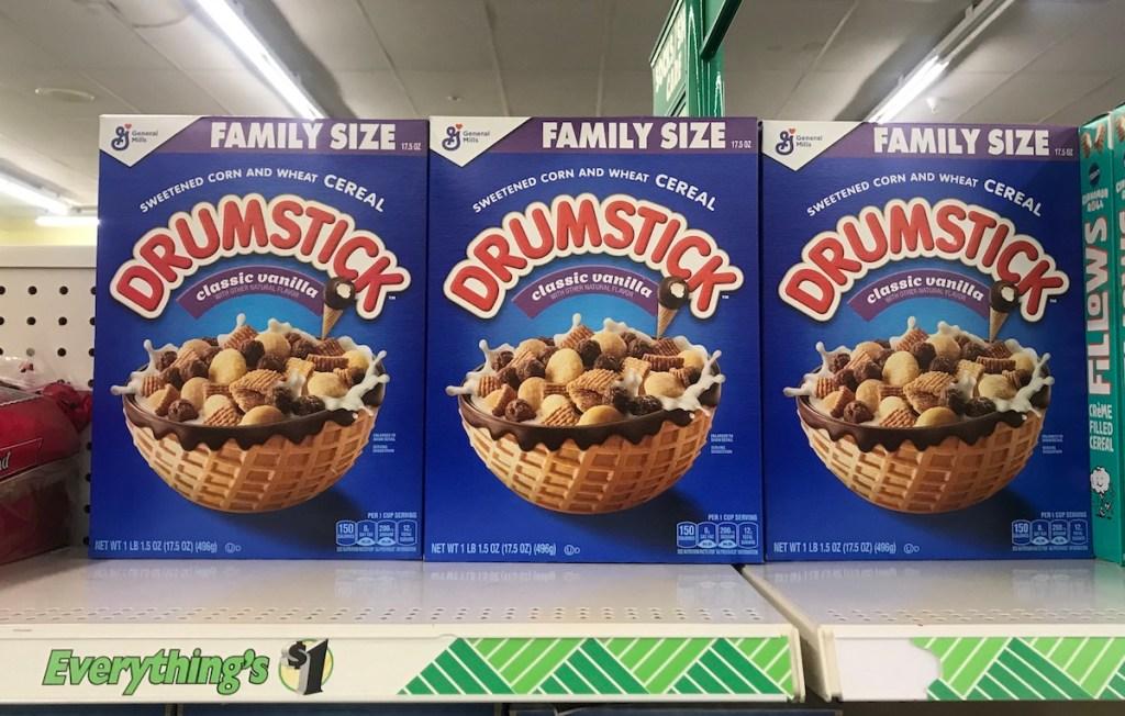 General Mills Drumstick Cereal on shelf at Dollar Tree