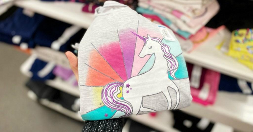 Girls short sleeve tee shirt folded with a unicorn design