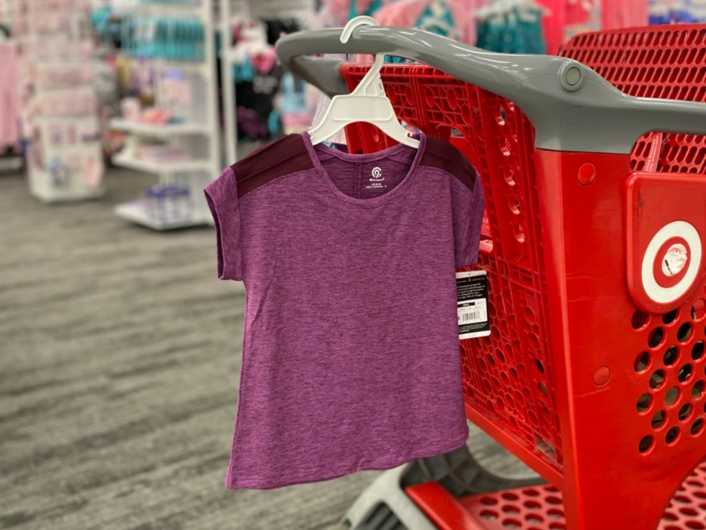 Girls C9 Athletic tee hanging on a red Target shopping cart