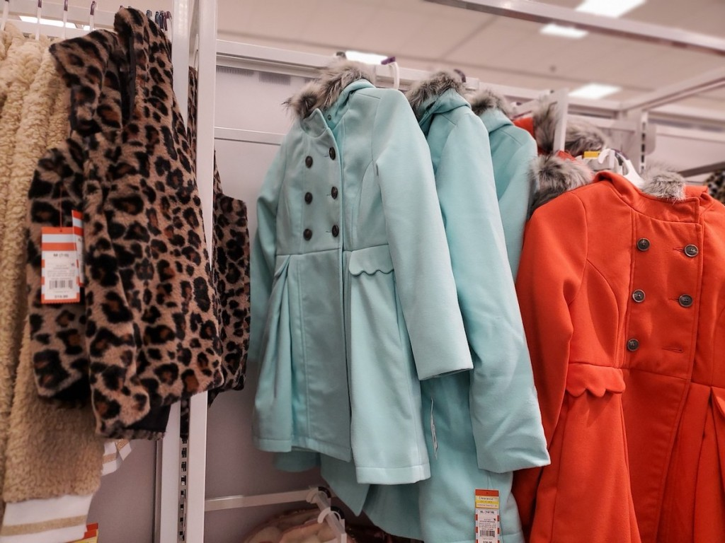 target girls jackets in red, blue, and leopard