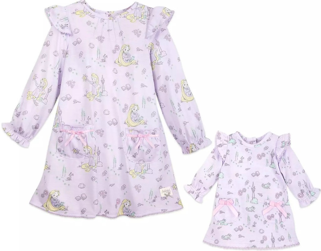 Matching Disney-themed pajamas for girl and doll