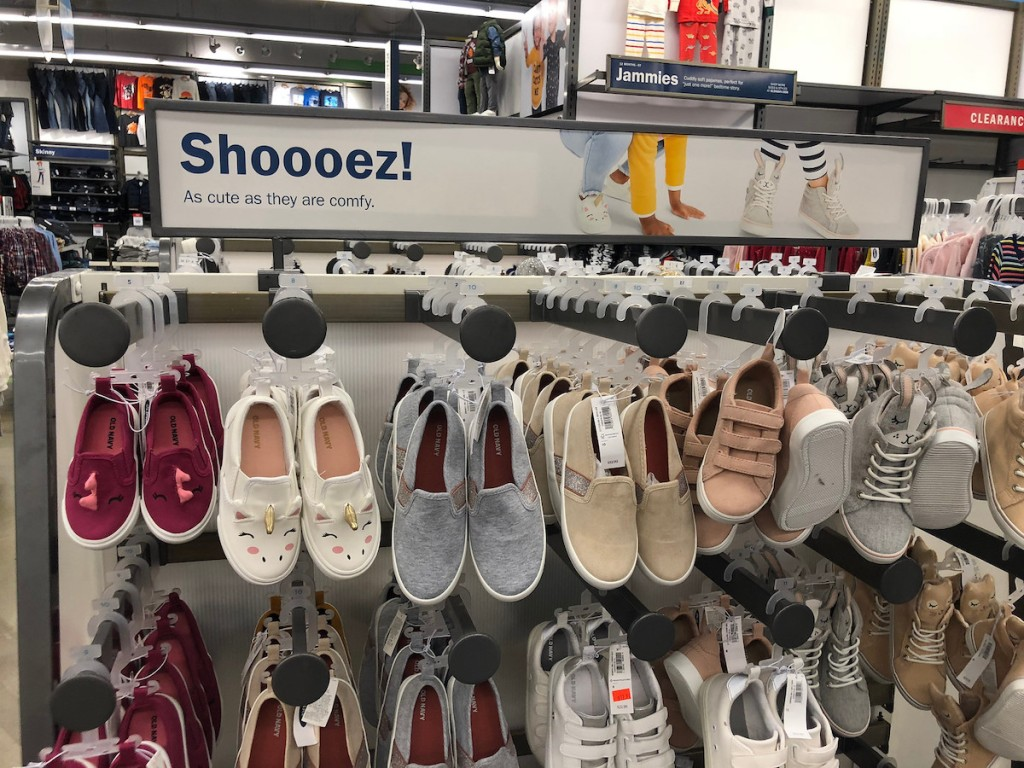 shelf with girls shoes at old navy