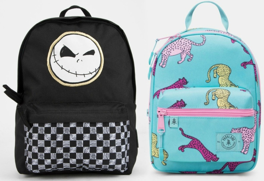 Two styles of girls mini backpacks - Jack Skellington and big cats