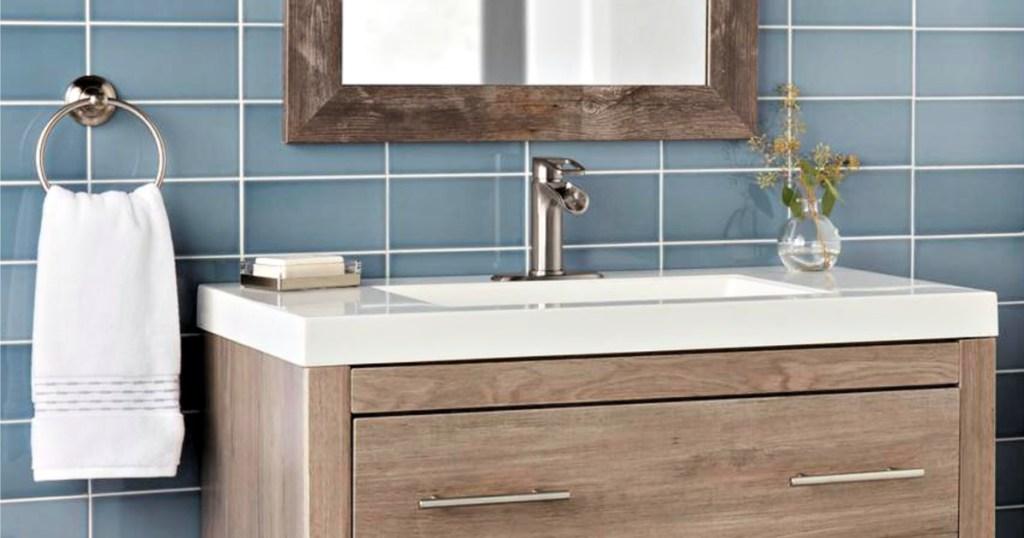 Glacier Bay Kiso Single-Handle Low-Arc Bathroom Faucet in Brushed Nickel