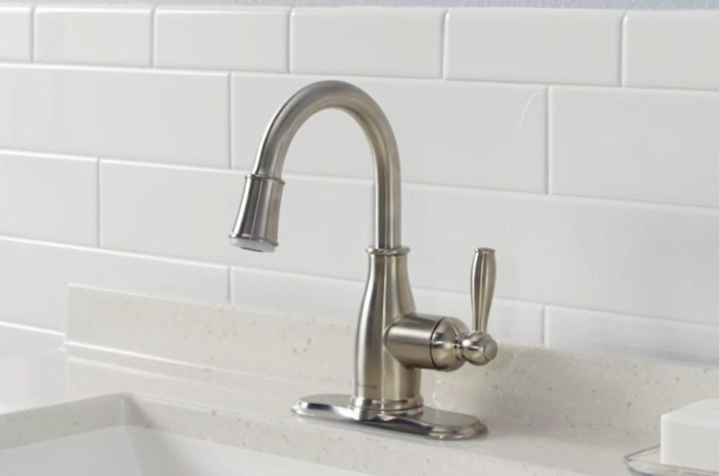 Glacier Bay Mandouri Single Hole Single-Handle LED High-Arc Bathroom Faucet in Chrome