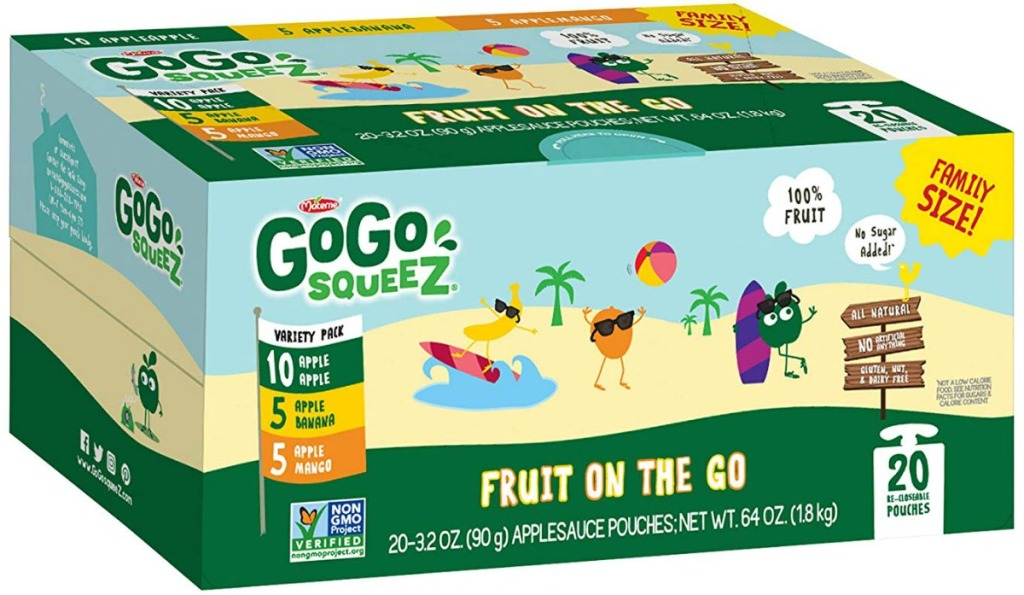 Large variety pack of squeezable applesauce