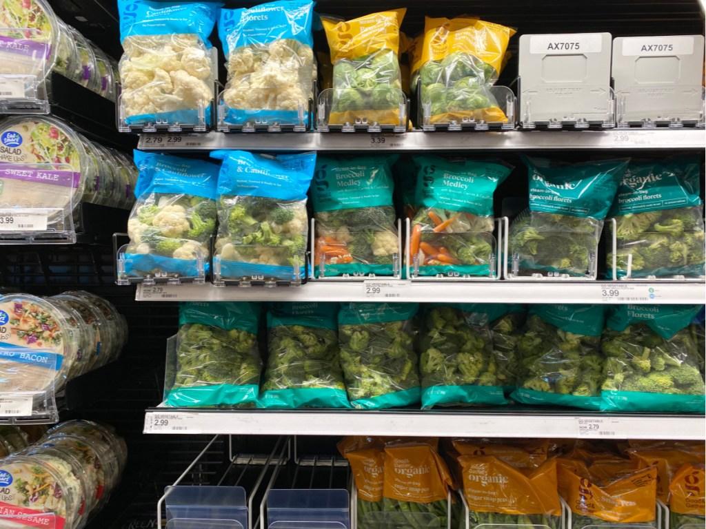 vegetables on shelf