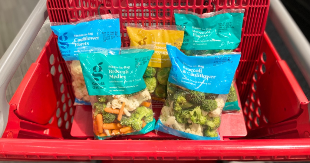 variety of Good & Gather Fresh Vegetables in target cart