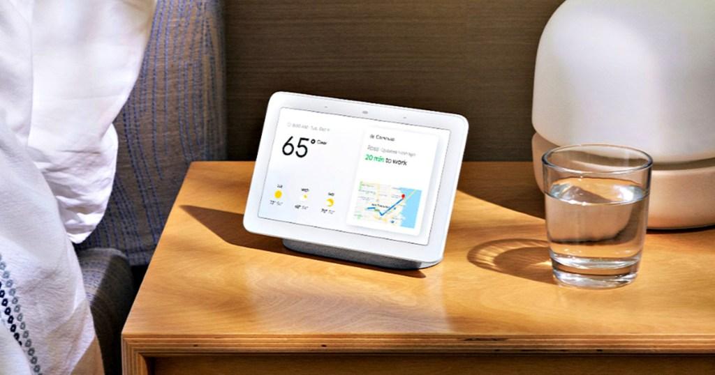google nest hub on nightstand