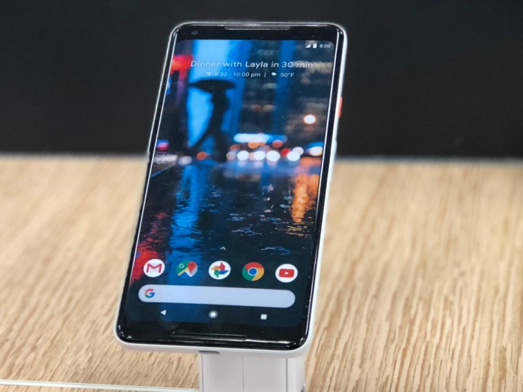 a Google Pixel 4 smart phone on display in store