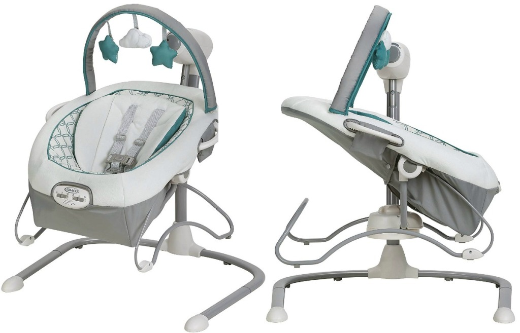Two angles of a Graco portable bouncer in white a teal with star shaped toys