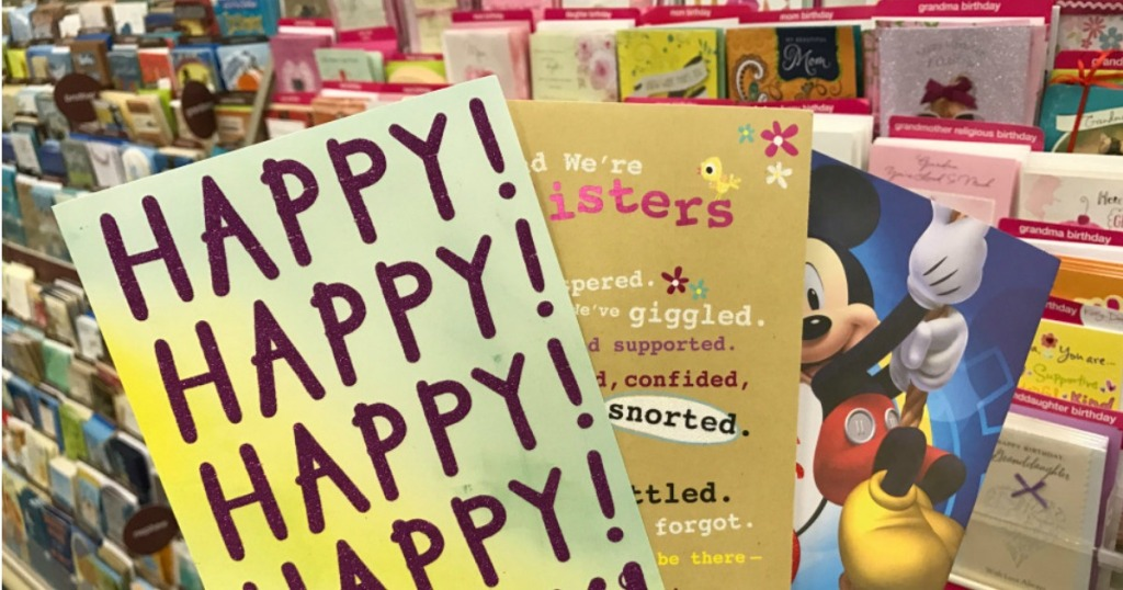 Greeting cards in front of shelf