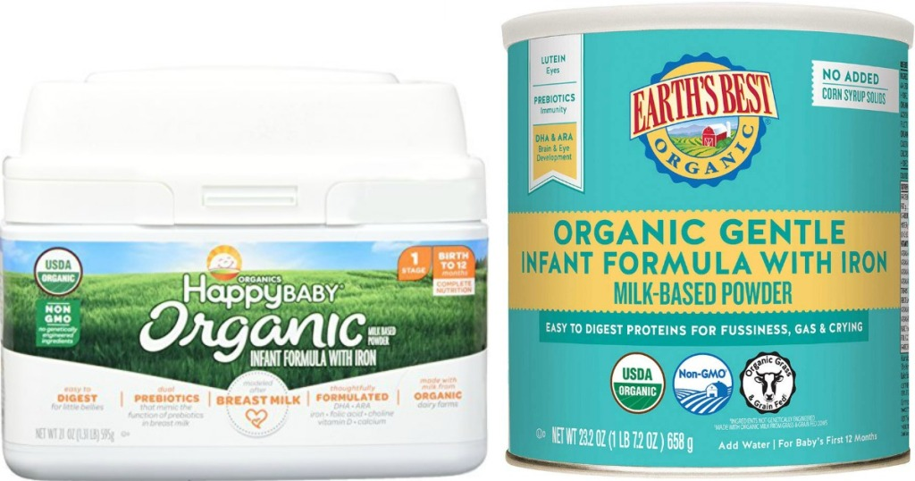 Happy Baby and Earth's Best Formula Containers