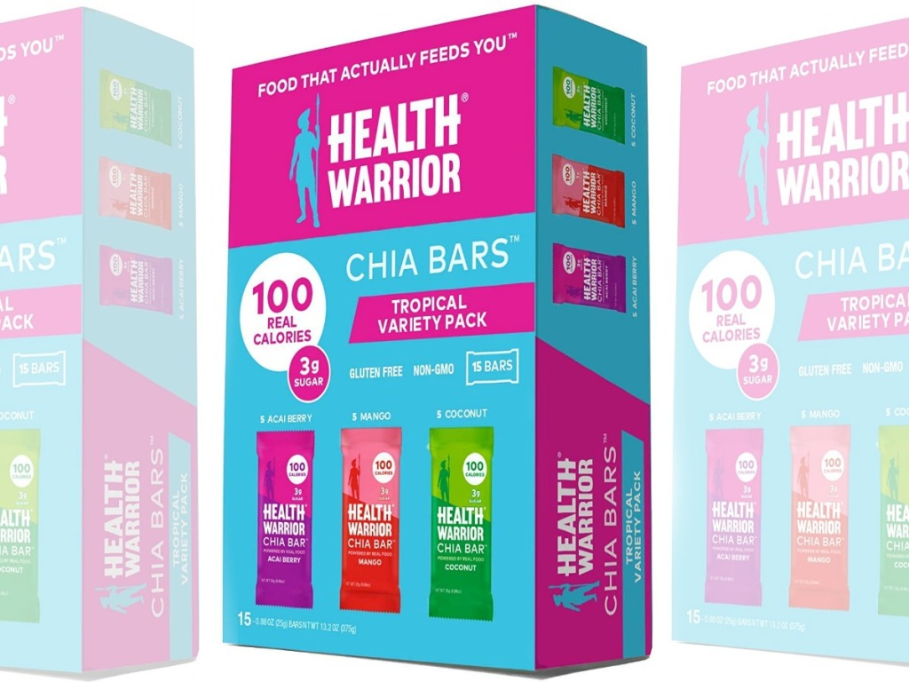 Large box of chia bars in variety pack