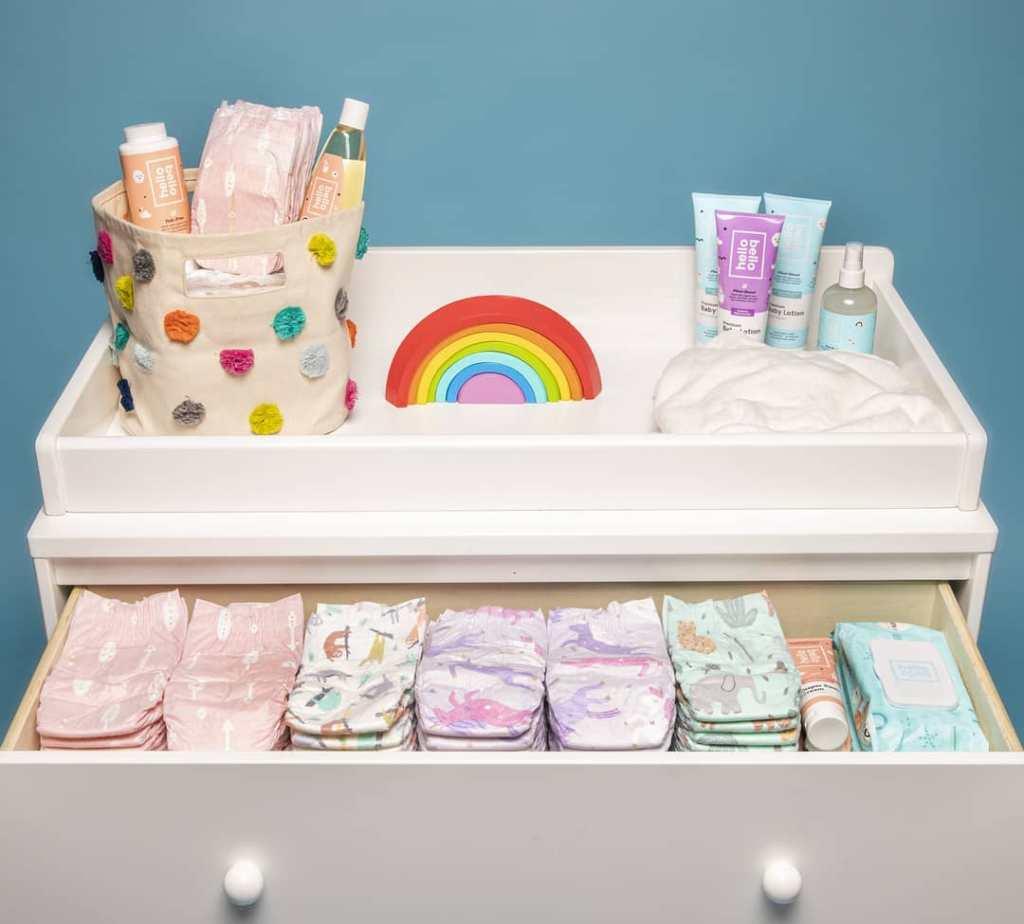 Hello Bello Baby Diapers in diaper changer