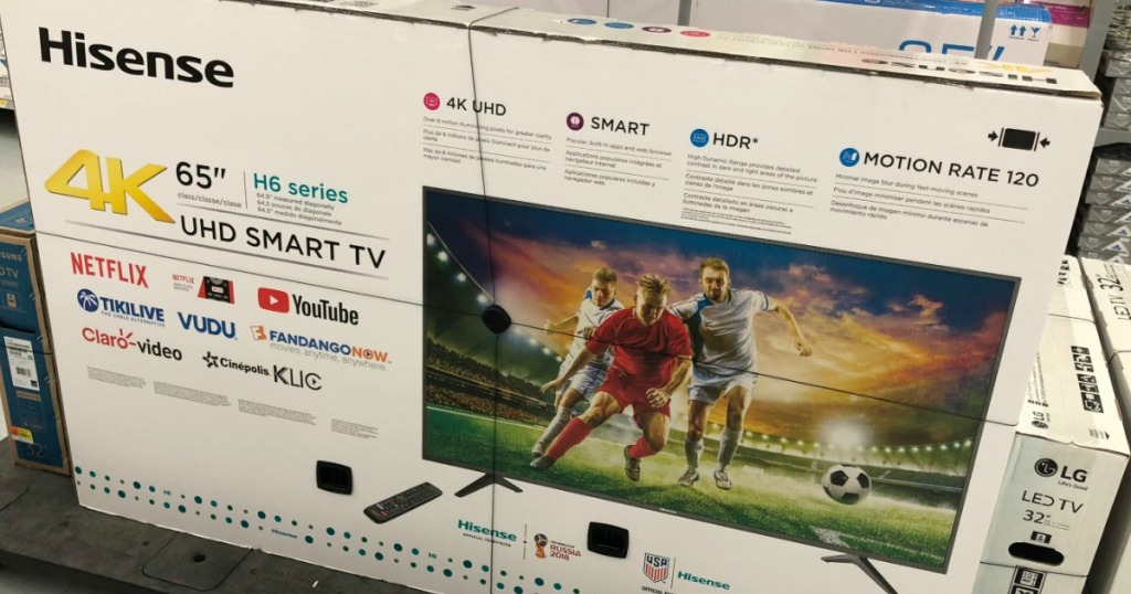 Hisense brand television in box on display in-store
